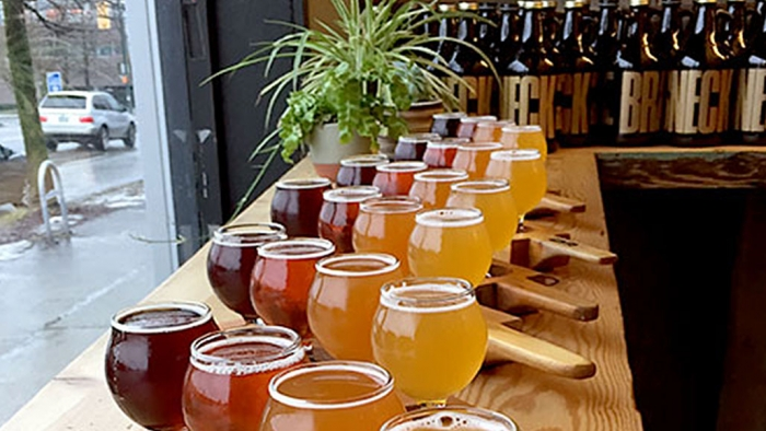 Selection of Beer flights at Brassneck Brewery