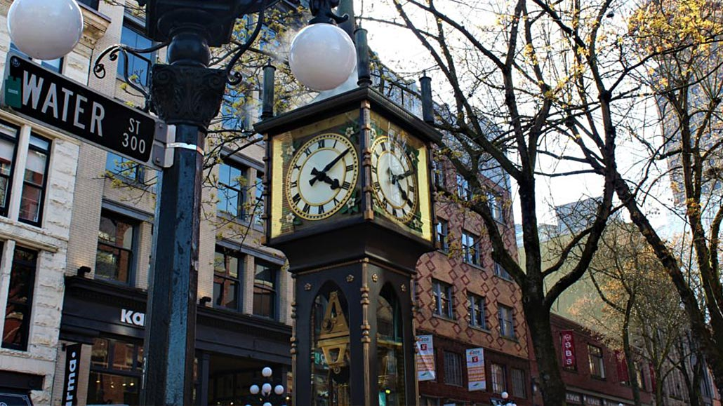 Steamclock in Vancouver Gastown with Water St sign in front