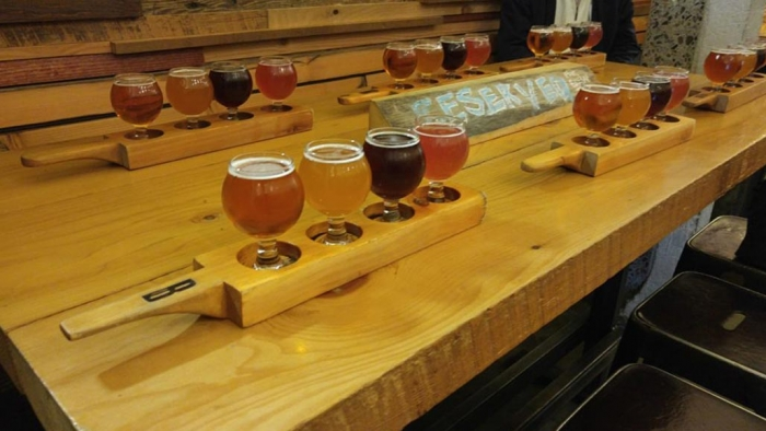 Selection of beer flights at Brassneck Brewery Vancouver